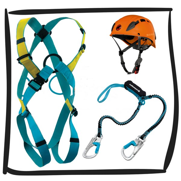 The rental of the ferrata set contains all the necessary elements for a safe climb on via Ferrata.