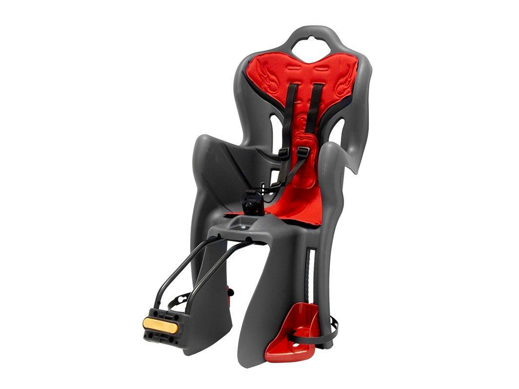 The child seat can be attached to the seat post or rear carrier.